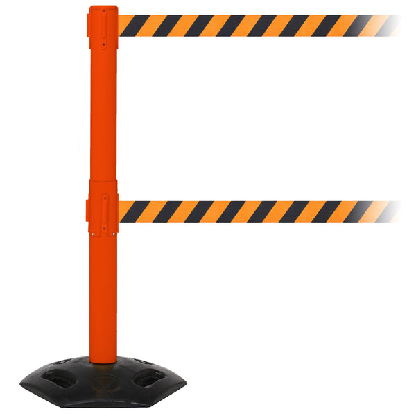 WeatherMaster Twin 300 Extreme-Duty Outdoor 16ft Dual-Belts Retractable Belt Barrier, Orange Stanchion Post, QueueSolutions WMRTwin300O-BK