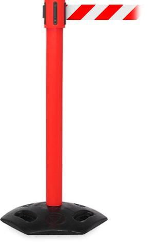 WeatherMaster 335 Weatherproof Rubber Base 35 Foot Outdoor Retractable Belt Crowd Control Stanchion Red