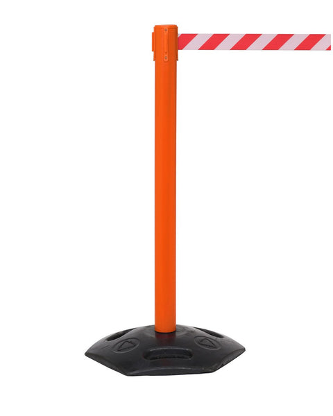 WeatherMaster 250 Extreme-Duty Retractable Belt Barrier, Orange Stanchion Post w Rubber Base, QueueSolutions WMR250O-BK