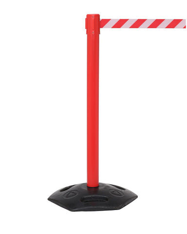 WeatherMaster300 Red Weatherproof Outdoor Rubber Base Retractable Belt Barrier