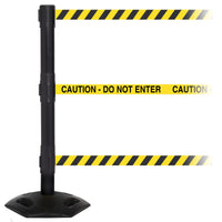 WeatherMaster Triple 250 3-Belt Extreme-Duty Outdoor Retractable Belt Barrier, Black Stanchion Post, QueueSolutions WMRTriple250B-BK