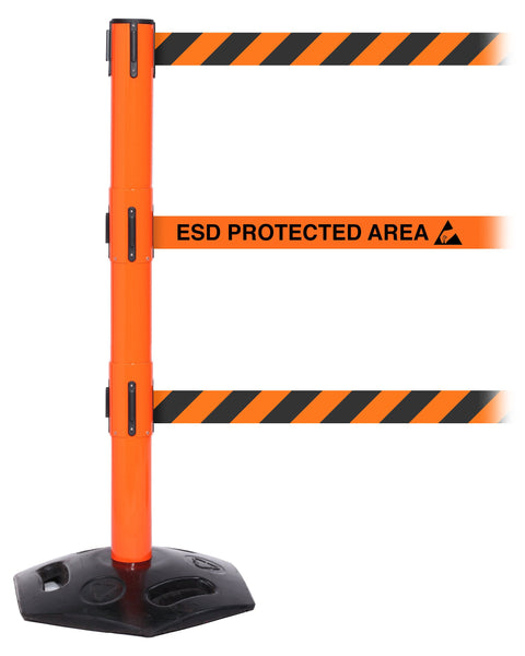 WeatherMaster Triple 250 3-Belt Extreme-Duty Outdoor Retractable Belt Barrier, Orange Stanchion Post, QueueSolutions WMRTriple250O-BK