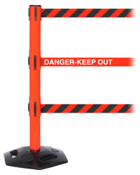 WeatherMaster Triple 250 3-Belt Extreme-Duty Outdoor Retractable Belt Barrier, Red Stanchion Post, QueueSolutions WMRTriple250R-BK
