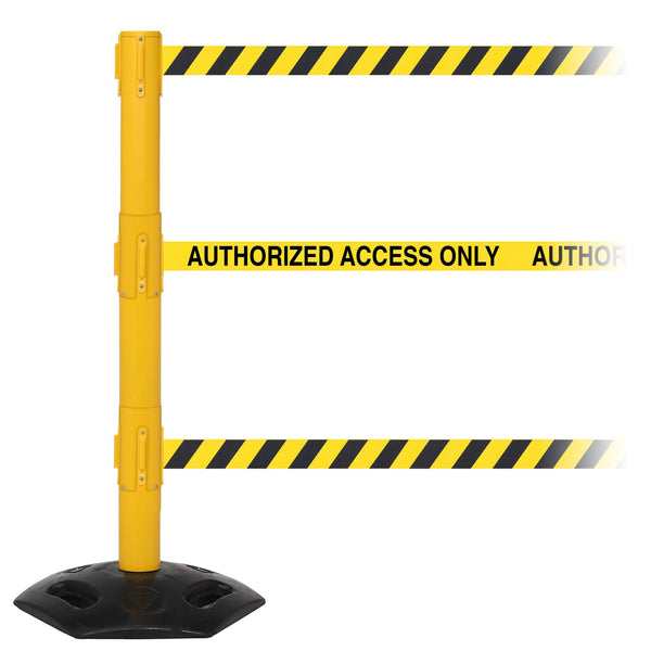 WeatherMaster Triple 250 3-Belt Extreme-Duty Outdoor Retractable Belt Barrier, Yellow Stanchion Post, QueueSolutions WMRTriple250Y-BK