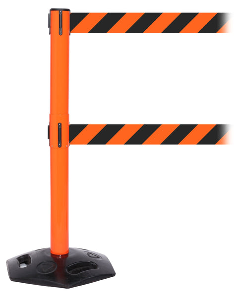 WeatherMaster Twin Xtra Wide Dual-Belt Outdoor Retractable Belt Barrier, Orange Stanchion Post, 3in x 11ft Belts, QueueSolutions WMRTwin250X-O-BK110