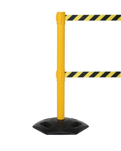 Outdoor Retractable 11'/13' Dual Belt Stanchion Yellow ADA Compliant