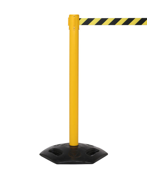 WeatherMaster 250 Extreme-Duty Retractable Belt Barrier, Yellow Stanchion Post w Rubber Base, QueueSolutions WMR250Y-BK
