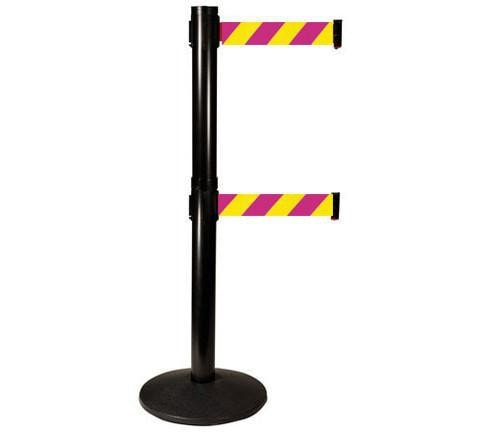 Magenta an Yellow Diagonal 10 Foot Visiontron Retracta Belt Stanchion in Black Finish