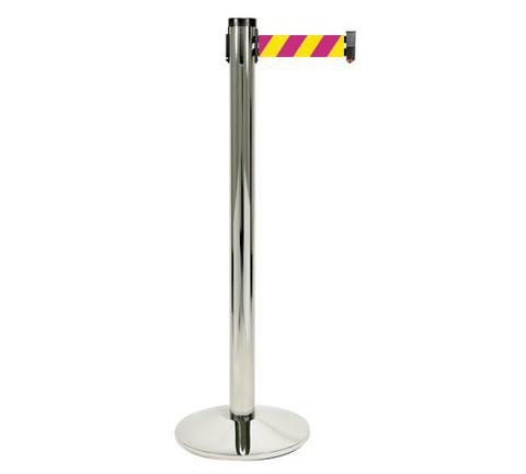 Magenta and Yellow Diagonal Visiontron 10 Foot Retracta Belt Single Line Stanchion Polished Aluminum Finish