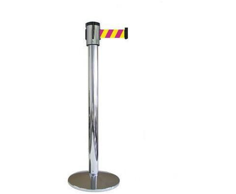 Magenta and Yellow Diagonal 15 Foot Visiontron Retracta Belt Stanchion Polished Stainless Steel Finish