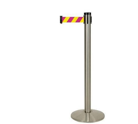 Magenta and Yellow Diagonal 10 Foot Visiontron Retracta Belt Stanchion Satin Stainless Steel Finish