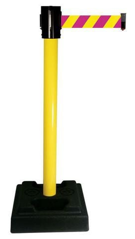 Retracta-Belt Outdoor 15ft Magenta/Yellow Nuclear Safety Retractable Belt Barrier w Aluminum Utility Stanchion Post, Visiontron 322BA-MYD