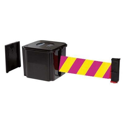 Yellow and Magenta Diagonal Visiontron Retracta Belt Wall Mount Unit in 15 Foot, 20 Foot, 25 Foot, and 30 Foot Belt Lengths