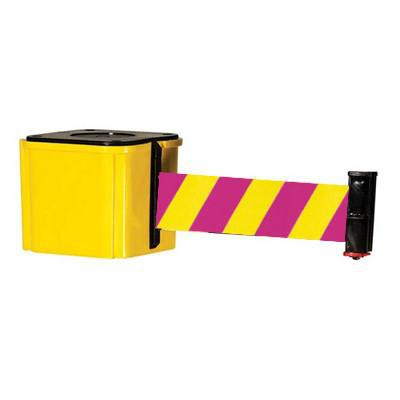 Retracta-Belt Wall Mount Unit Magenta/Yellow Nuclear Safety - Yellow