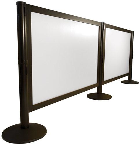 Black w/Frosted Acrylic - Post-N-Panel Heavy-Duty Aluminum Frame Barriers - Glass/Acrylic Insert