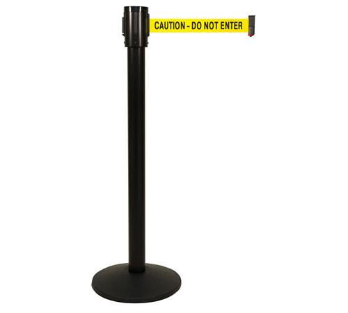 Retracta-Belt 15ft Hyper-Strength Single Line Retractable Belt Barrier w Black Aluminum Stanchion Post, Visiontron 321BA-BK