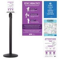 Acrylic Paper Sign Holder Topper shown with NYC and CDC Covid-19 inserts