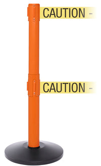SafetyPro Twin Xtra Industrial-Tough Retractable Belt Barrier, Orange Stanchion Post, QueueSolutions SPROTwin250O-X-BK110