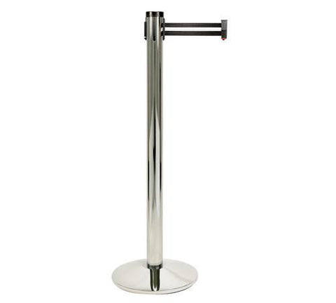 Retracta Belt Single Line Stanchion Polished Aluminum with Black and White Striped Belt