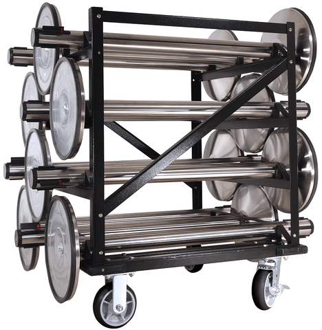 Full - 12 Stanchion Post Capacity - Portable Storage Cart | Visiontron