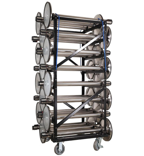 Loaded - Portable Stanchion Storage Cart - Horizontal 24-Post Capacity