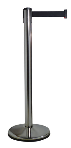 Polished Steel 10 Foot Visiontron Retracta-Belt Prime Indoor Stanchion - Pro Stanchions