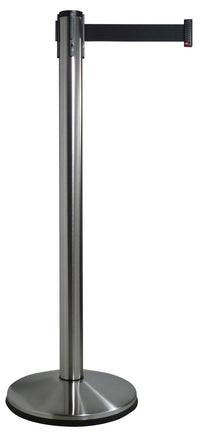 Retracta-Belt Prime 10ft Single Line Retractable Belt Barrier, Satin Stainless Stanchion Post, Visiontron 100SS1-BK