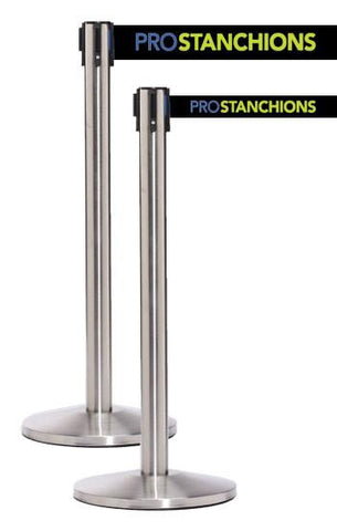 QueueMaster Xtra Wide 11 Foot Belt Retractable Satin Stainless Steel Tape Barrier - Pro Stanchions
