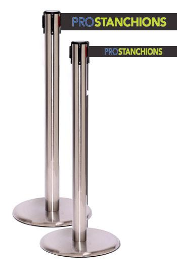 QueuePro Xtra 3in Wide Retractable Barrier, Satin Stainless Stanchion Post, QueueSolutions PRO250SS-X-BK110
