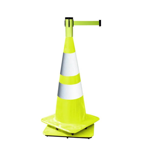 Fluorescent Yellow Retracta Cone 15 Foot Belt Traffic Cone Topper Retractable Belt Barrier - Visiontron