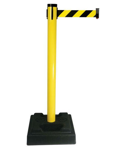 Retracta Belt Utility Post with 10 foot Black and Yellow Diagonal belt