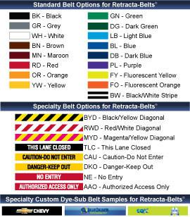 Yellow Aluminum Outdoor Retracta-Belt Prime Belt Options