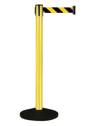 Yellow Aluminum 10 Foot Visiontron Retracta-Belt Prime Outdoor Stanchion - Pro Stanchions