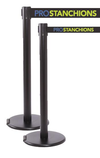 "RollerPro Xtra E-Z Roll Portable Retractable 3"" Belt Stanchion - Black"