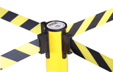 4 Way Belt Connection - SafetyPro Triple Industrial-Tough Retractable Belt Stanchion - Yellow