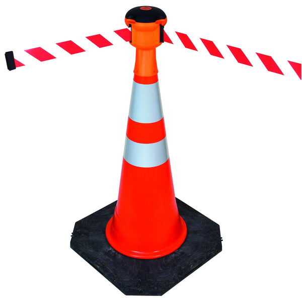 Skipper Traffic Cone Mount Orange Retractable 30ft Belt Barrier, Visiontron SKIP-BY