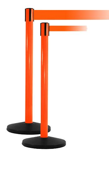 SafetyPro Xtra Industrial-Tough Retractable Belt Stanchion - Orange
