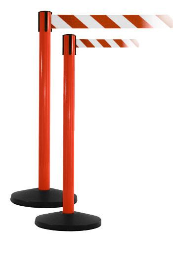 SafetyPro Xtra Industrial-Tough Retractable Belt Barrier, Red Stanchion Post, QueueSolutions SPRO250R-X-BK110