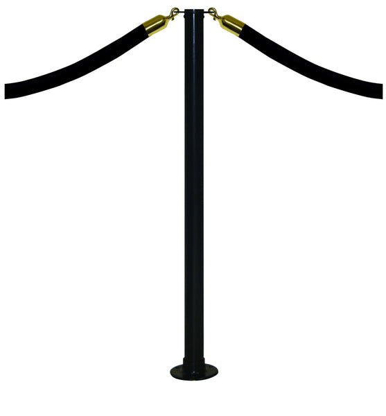 Black Flat Top - Magnet Floor Mount Conventional Post & Rope Stanchion
