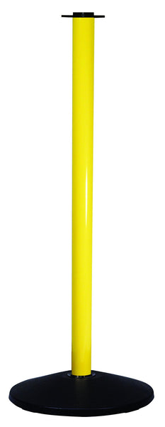 Utility Conventional Post Yellow Aluminum w/Black Flat Top & Base