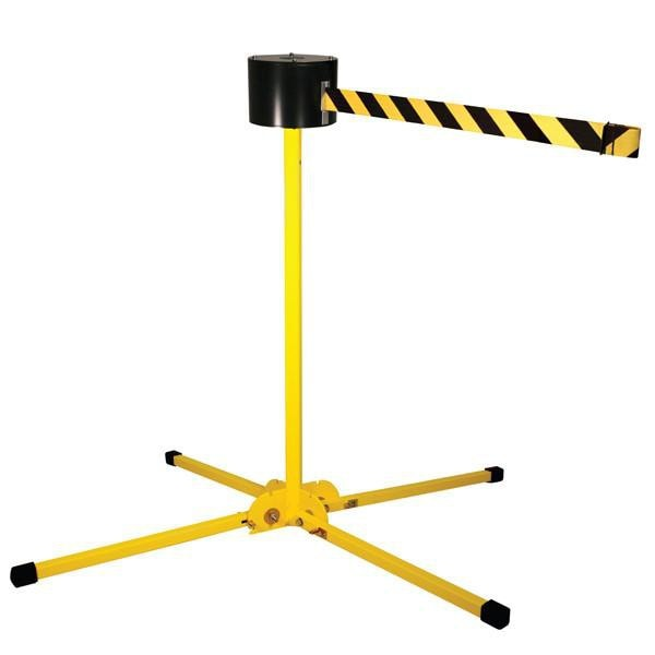 Retracta-Belt Long-Span 65ft Portable Folding Leg Retractable Belt Barrier, Yellow Stanchion Post, Visiontron SM6500YW-BK