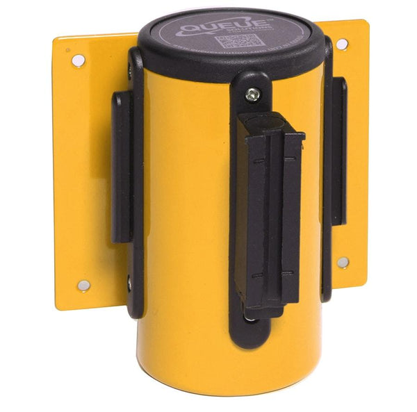 WallMaster300 Wall Mount Retractable 10ft Belt Barrier Yellow or Orange, QueueSolutions WM300Y-BK100