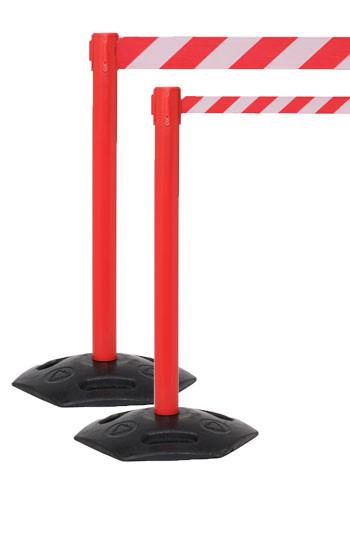 WeatherMaster 250 Xtra Wide 3in Belt, Outdoor Retractable Belt Barrier, Red Stanchion Post w Rubber Base, QueueSolutions WMR250R-X-BK110