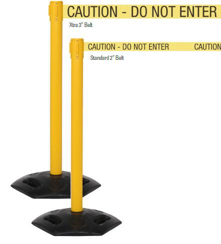 Outdoor Retractable 11' Xtra Wide Belt Stanchion Yellow w/Rubber Base