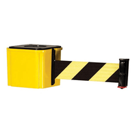 Retracta-Belt Magnetic Hyper-Strength Wall Mount Barrier 15ft, Yellow, Visiontron WM412YW15-BK-RE-SUB-412M