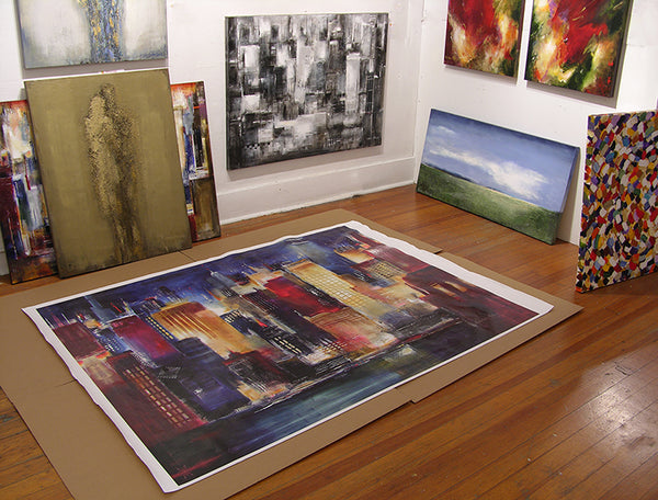 Canvas prints can be ordered as large as 54' x 84', rolled and shipped.