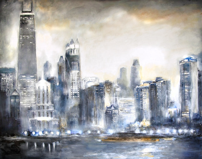 A custom created Chicago cityscape painting is easy to order. Select from over 100 of our online Chicago skyline images, or provide us with a photo.