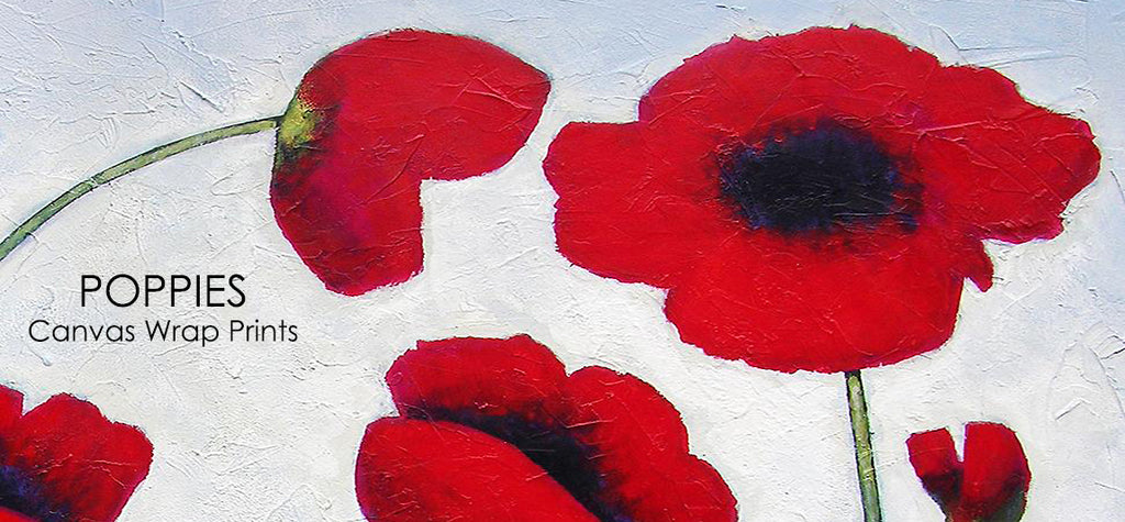 Poppy canvas wrap prints are available in multiple sizes.