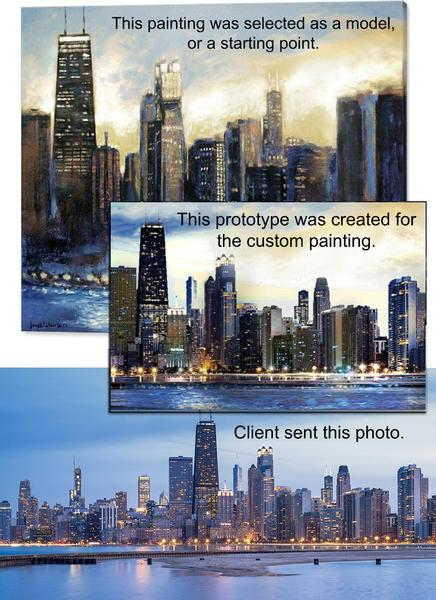 Commission a custom Chicago skyline painting from a photo.