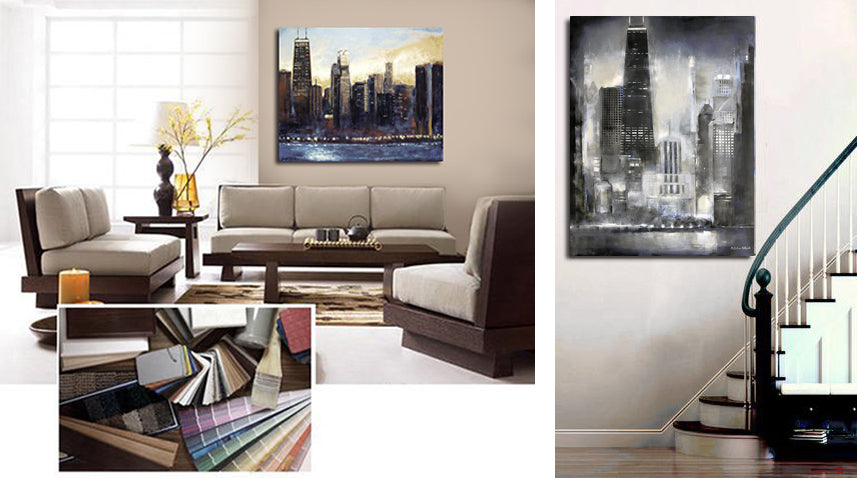 Custom paintings on canvas of the Chicago skyline.